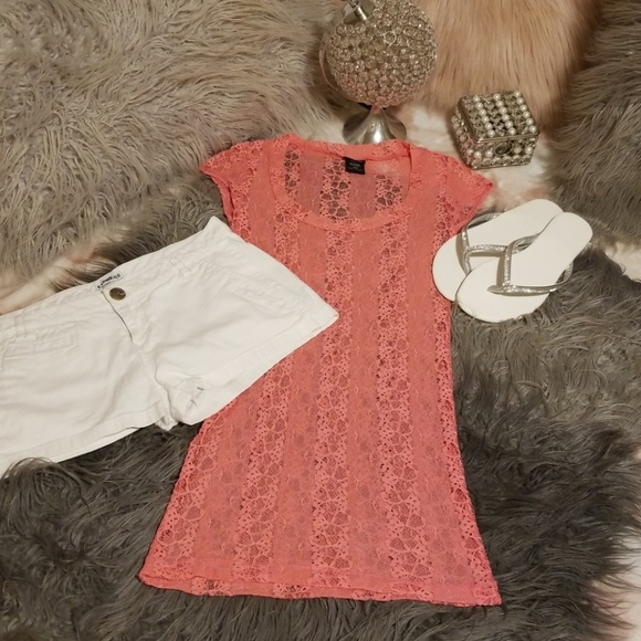 Vanity Tops - 💮Vanity Pink Lace T💮